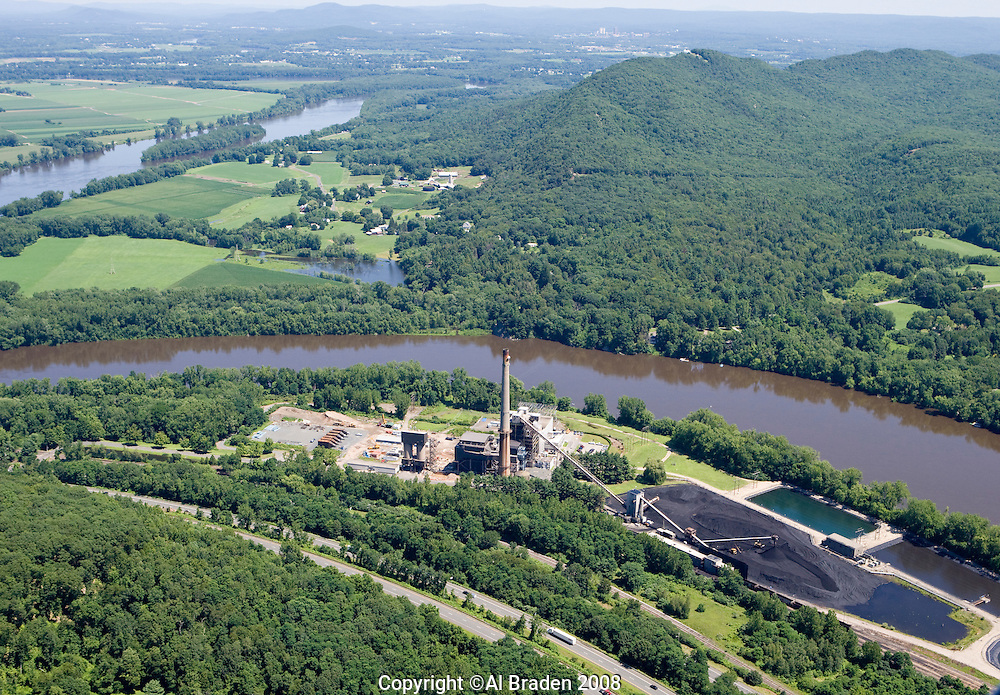 Aerial of Coal Fired Power Plant along Connecticut River at Mount Tom, South Hadley, MA