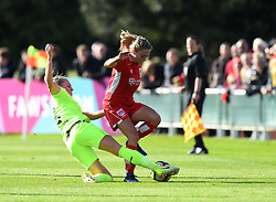 Megan Alexander of Bristol City Women is tackled - Mandatory by-line: Paul Knight/JMP - 20/05/2017 - FOOTBALL - Stoke Gifford Stadium - Bristol, England - Bristol City Women v Liverpool Ladies - FA Women's Super League Spring Series