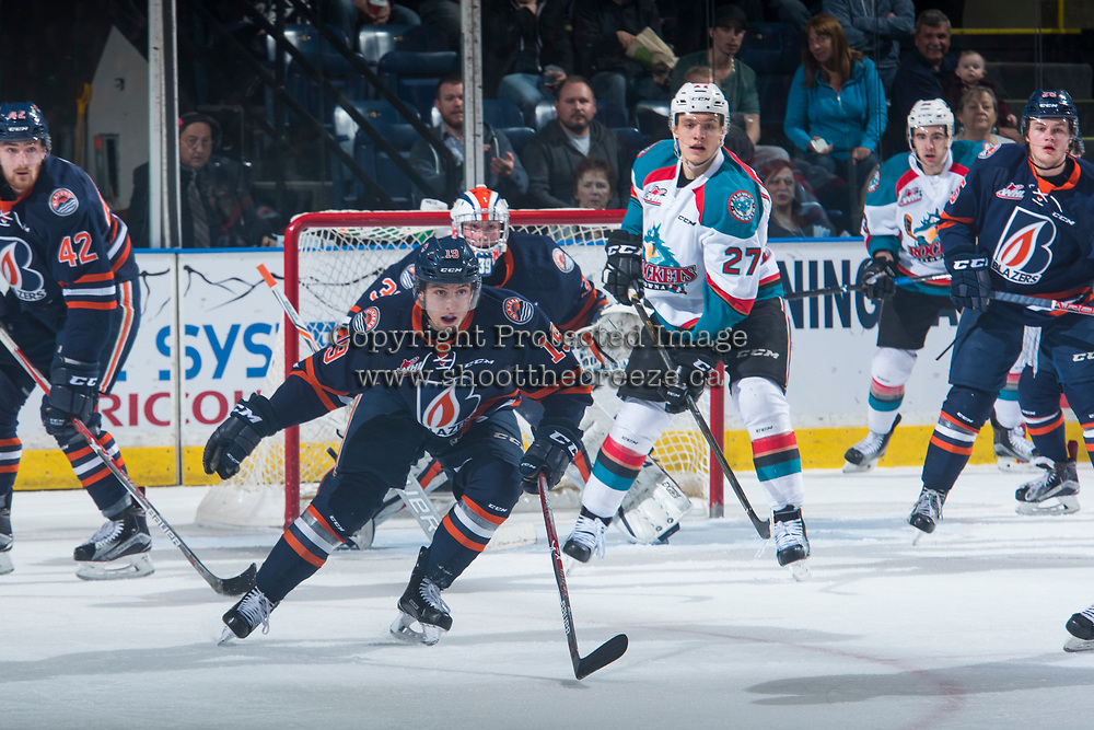 KELOWNA, CANADA - MARCH 25: Erik Miller #19 of the Kamloops Blazers looks for the shot on net against the Kelowna Rockets on March 25, 2017 at Prospera Place in Kelowna, British Columbia, Canada.  (Photo by Marissa Baecker/Shoot the Breeze)  *** Local Caption ***