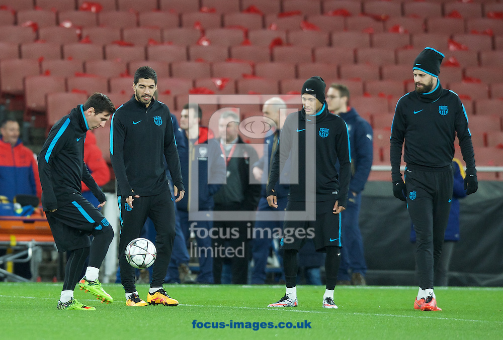 (left to right) Lionel Messi, Luis Suarez, Neymar and Gerard Pique during the Barcelona training session at the Emirates Stadium, prior to their Champions League match against Arsenal tomorrow. London, England.<br /> Picture by Alan Stanford/Focus Images Ltd +44 7915 056117<br /> 22/02/2016