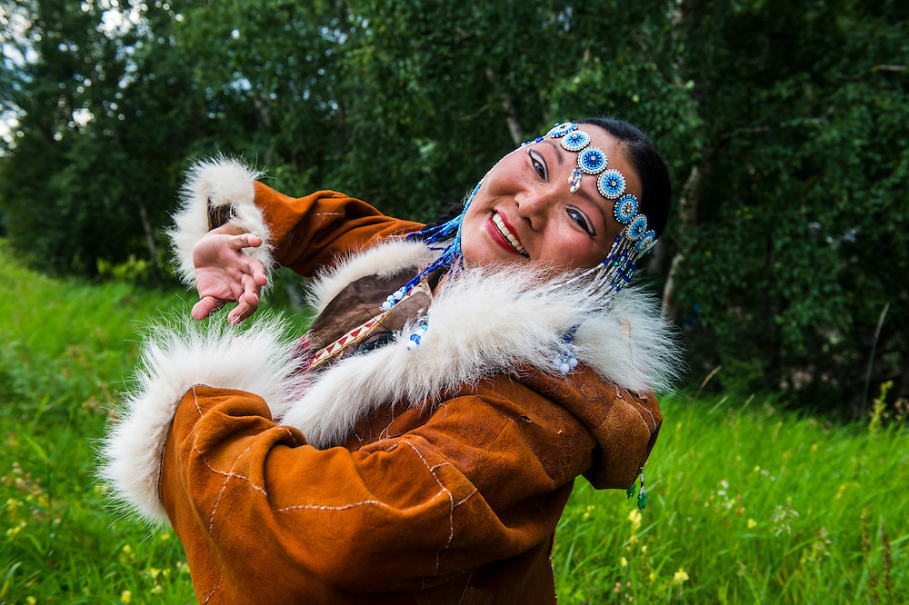 Traditional dressed Koryak the native people of Kamchatka woman in Esso, Russia