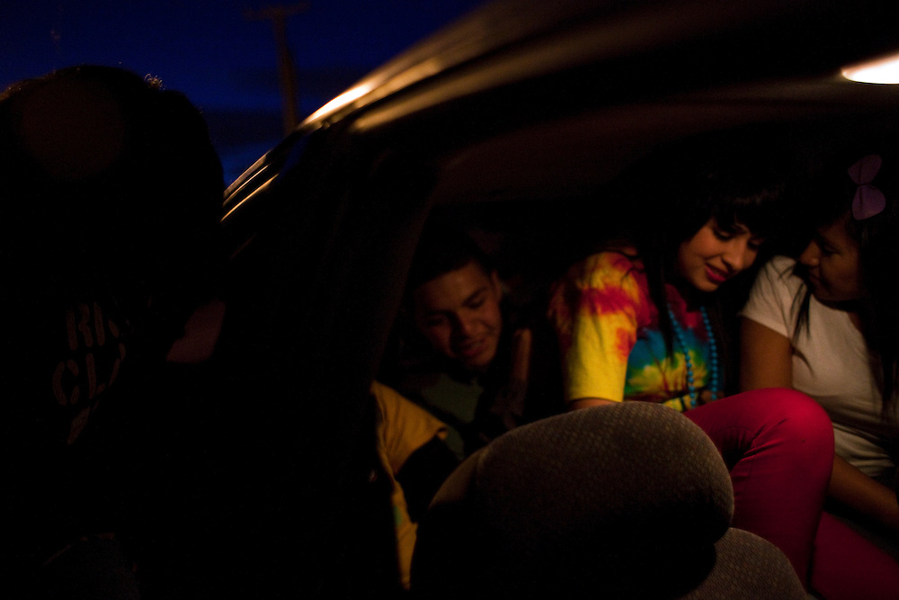 Teenagers  of the Diaz Ordaz colonia pile into a car to go to the Morocos night club in Ciudad Juarez, Chihuahua Mexico on May 1, 2010. ..
