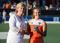 BREDA - Xan de Waard (Ned) , speelster van het toernooi, na  de finale  Nederland-Japan (8-2) van de 4 Nations Trophy dames 2018 . COPYRIGHT KOEN SUYK