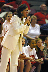 12 March 2005<br /> <br /> Coach Robin Pingeton rwhistles to her team to get their attention.<br /> <br /> 8th seed and Tournament Host, Illinois State University Redbirds, played spoiler and best the #1, #2 & #4 ranked teams to win the Missouri Valley Confernce Hoops in the Heartland Tournament.  In the final game today, the Redbirds bested the #2 seeded Indiana State University Sycamores by 2 points with a .8 second to go buzzer beater jump shot from the middle of the lane.  The Redbirds get an automatic birth to the NCAA Tournament. The Redbirds last played in the NCAA Tournament in 1989.  Hoops in the Heartland was held at Redbird Arena, Illinois State University, Normal IL