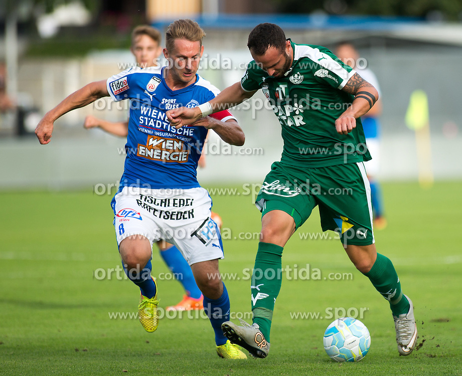 29.07.2016, Gernot Langes Stadion, Wattens, AUT, 2. FBL, WSG Wattens vs Floridsdorfer AC, 2. Runde, im Bild v.l.n.r.: Sascha Viertl (Floridsdorfer AC) und Benjamin Pranter (WSG Wattens) // during second Austrian Bundesliga 2nd round match between WSG Wattens and Floridsdorfer AC, at the Gernot Langes Stadion in Wattens, Austria on 2016/07/29. EXPA Pictures © 2016, PhotoCredit: EXPA/ Jakob Gruber