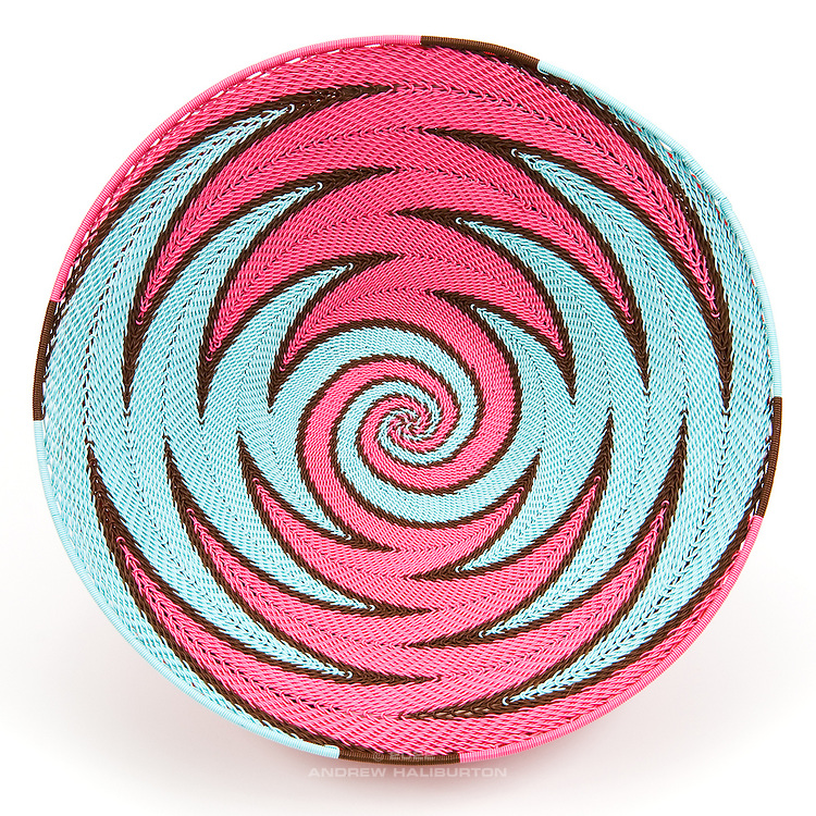 Open Bowl; Pink and Baby Blue zigzag