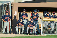 KELOWNA, BC - JULY 17:  Wenatchee Applesox dugout at Elks Stadium on July 17, 2019 in Kelowna, Canada. (Photo by Marissa Baecker/Shoot the Breeze)