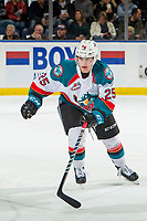 KELOWNA, CANADA - FEBRUARY 2:  Kyle Crosbie #25 of the Kelowna Rockets skates against the Kamloops Blazers on February 2, 2019 at Prospera Place in Kelowna, British Columbia, Canada.  (Photo by Marissa Baecker/Shoot the Breeze)
