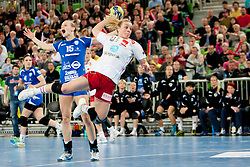 Barbara Lazovic-Verlec #15 of Krim and Isabel Blanco #5 of Larvik during handball match between RK Krim Mercator (SLO) and Larvik HK (NOR) in second game of semi final of EHF Women's Champions League 2012/13 on April 13, 2013 in Arena Stozice, Ljubljana, Slovenia. (Photo By Urban Urbanc / Sportida).