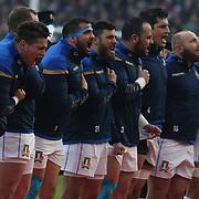 Dublino 10/02/2018 Aviva Stadium<br /> Natwest 6 nations 2018<br /> Irlanda v Italia<br /> gli azzurri durante l'inno