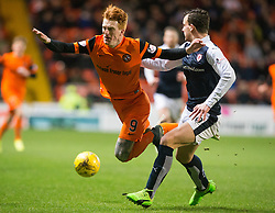 Dundee United's Simon Murray and Raith Rovers Kyle Benedictus. half time : Dundee United 1 v 0 Raith Rovers, Scottish Championship game played 4/2/2017 at Dundee United's stadium Tannadice Park.