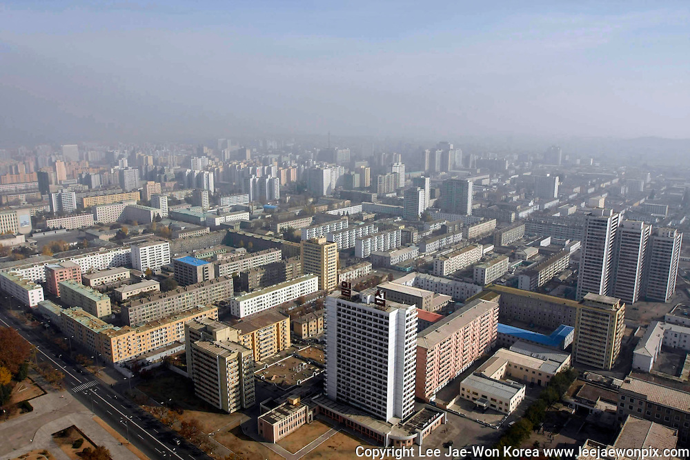 Central Pyongyang is seen in this aerial photo. Photo by Lee Jae-Won (NORTH KOREA) www.leejaewonpix.com/