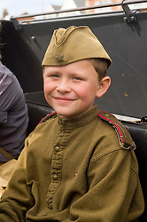 A young reenactor playing a member of the Soviet 13th Guards is held as a POW during a Northern World War Two Association Battle reenactment at the Lytham St Annes Battle of Britain Celebration 1940s War Weekend 21 Aug 2010 <br />