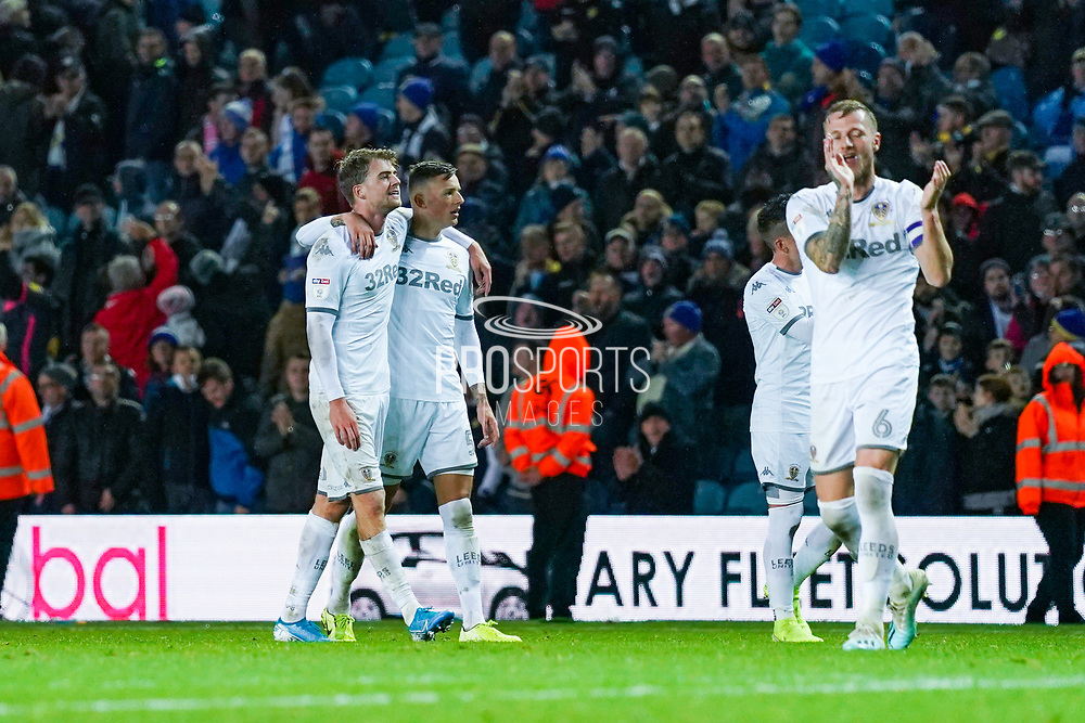 Leeds United forward Patrick Bamford (9) and Leeds United defender Ben White (5) after the match during the EFL Sky Bet Championship match between Leeds United and Queens Park Rangers at Elland Road, Leeds, England on 2 November 2019.