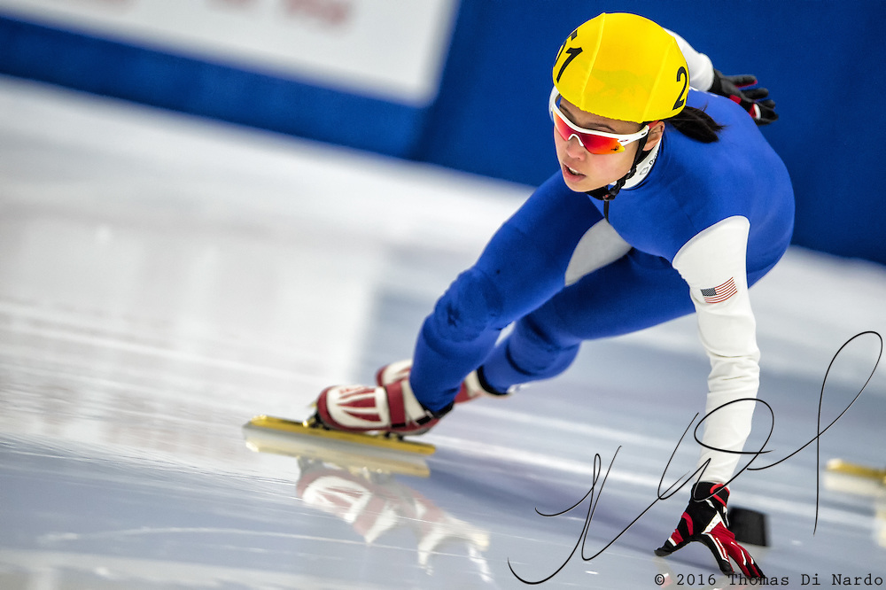 March 18, 2016 - Verona, WI - Jerebelle Yutangco, skater number 251 competes in US Speedskating Short Track Age Group Nationals and AmCup Final held at the Verona Ice Arena.