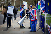 Steve Bray with his Sodem Action sign as the pro EU demonstrators who have been outside parliament on a daily basis since September 2017 after the country voted to leave the European Union. House of Commons, Westminster, London, United Kingdom  (photo by Andrew Aitchison / In Pictures via Getty Images)