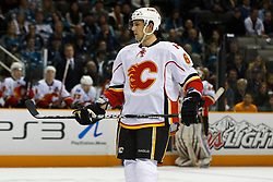 March 23, 2011; San Jose, CA, USA;  Calgary Flames defenseman Cory Sarich (6) during a stoppage in play against the San Jose Sharks during the first period at HP Pavilion. San Jose defeated Calgary 6-3. Mandatory Credit: Jason O. Watson / US PRESSWIRE