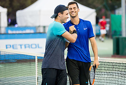 Lucas Miedler (AUT) and Nikola Cacic (SRB) celebrate after doubles Semifinal during Day 7 at ATP Challenger Zavarovalnica Sava Slovenia Open 2018, on August 9, 2018 in Sports centre, Portoroz/Portorose, Slovenia. Photo by Vid Ponikvar / Sportida