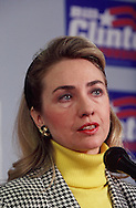 Hillary Rodham Clinton campaigns for Bill Clinton in Pennsylvania in April 1992..Photograph by Dennis Brack BBBs 20
