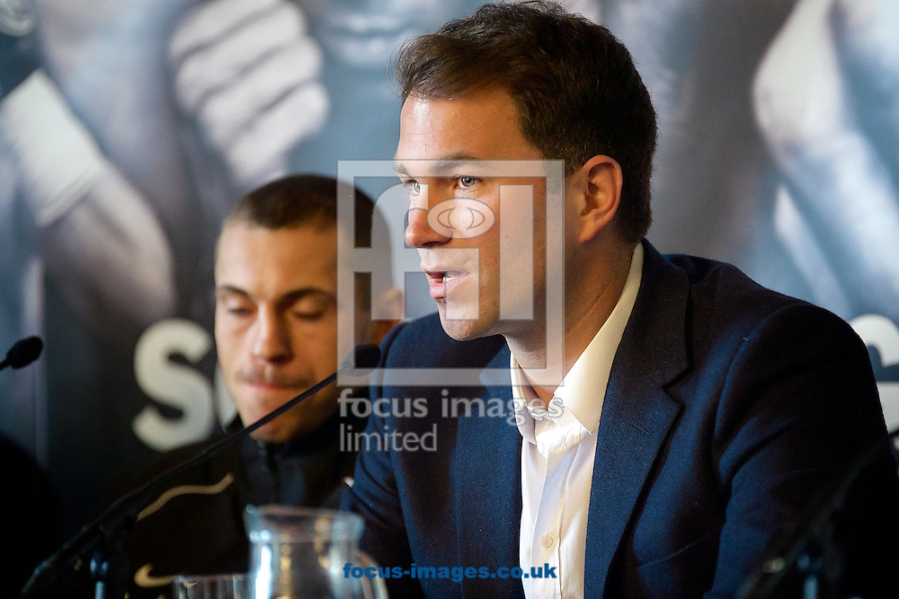 Promoter Eddie Hearn pictured during a press conference at Manchester Town Hall, Manchester<br /> Picture by Ian Wadkins/Focus Images Ltd +44 7877 568959<br /> 17/04/2014