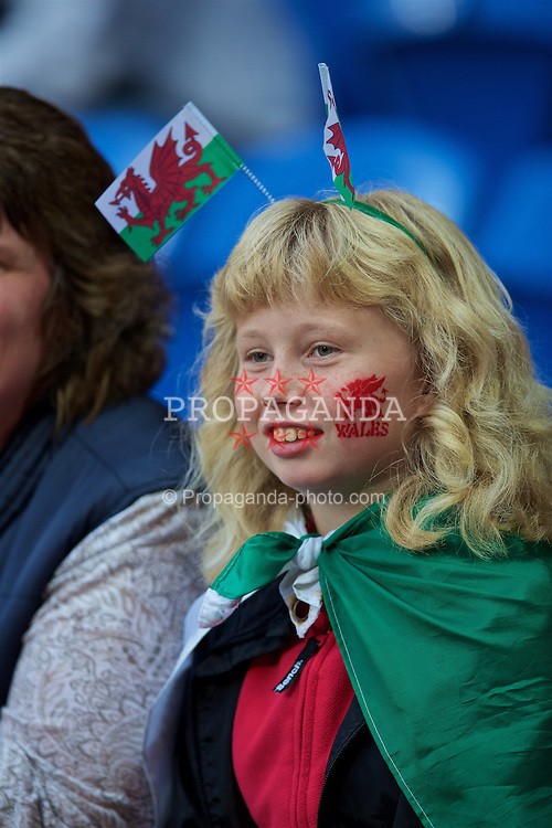 CARDIFF, WALES - Monday, September 5, 2016: A Wales supporter before the 2018 FIFA World Cup Qualifying Group D match against Moldova at the Cardiff City Stadium. (Pic by David Rawcliffe/Propaganda)