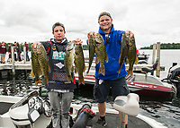 The Prospect Mountain team of Sam Bonner and Brodyn Varney (Coach Corey Roux and Asst Coach Mark Anthony not pictured) came up with 8 fish for the day totaling 16.12 lbs during the NHIAA High School bass fishing tournament out of Center Harbor Beach on Lake Winnipesaukee Thursday.  (Karen Bobotas/for the Laconia Daily Sun)