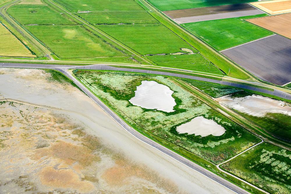 Nederland, Friesland, Gemeente Dongeradeel, 05-08-2014;; Peazemerlannen, kweldergebied grenzend aan het Wierumerwad en de Waddenzeee. Het gebied is ontstaan door spontane uitpoldering bij een storm in 1973 waarbij er een gat geslagen werd in de dijk. Midden de zeedijk (op delta hoogte) in het diagonaal de  dijk van de zomerpolder. Het natuurgebied is in beheer bij It Fryske Gea. <br /> <br /> Peazemerlannen, salt marshes bordering the Wierumerwad and Waddenzeee. The area has been created in 1973, a severe storm made a hole in the outside polder dike. In the middle the seawall (delta height), ibelow the dike of the summer polder. The area is a nature reserve, managed by It Fryske Gea.<br /> luchtfoto (toeslag op standard tarieven);<br /> aerial photo (additional fee required);<br /> copyright foto/photo Siebe Swart