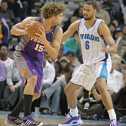 03 December 2008: Phoenix Suns center Robin Lopez (15) works against New Orleans Hornets center Tyson Chandler (6) during a 104-91 victory by the New Orleans Hornets over the Phoenix Suns at the New Orleans Arena in New Orleans, LA..