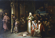 Service in the Synagogue during the reading from the Torah, interrupted by the entrance of an angry crowd led by a priest. Austrian school, 1868. Oil on canvas. Private collection.