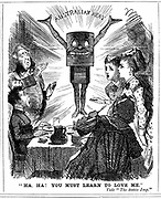 Cartoon from 'Punch' London 1873, telling the British public that they must learn to love canned meat from Australia.