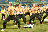 DJ Forbes during the Haka during the final of the medal competition of the Rugby Sevens between New Zealand and Australia held at Delhi University as part of the XIX Commonwealth Games in New Delhi, India on the 12 October 2010..Photo by:  Ron Gaunt/photosport.co.nz
