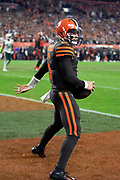 Cleveland Browns rookie quarterback Baker Mayfield (6) catches a pass good for a two point conversion that ties the third quarter score at 14-14 on a comeback win during the 2018 NFL regular season week 3 football game against the New York Jets on Thursday, Sept. 20, 2018 in Cleveland. The Browns won the game 21-17. (©Paul Anthony Spinelli)