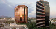 15 AUGUST 2008 -- PHOENIX, AZ: The setting sun casts a golden light on office towers of the Arizona Center, an office complex in downtown Phoenix, Arizona. PHOTO BY JACK KURTZ