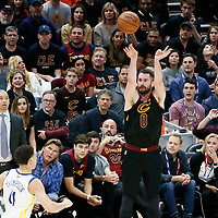 CLEVELAND, OH - JUN 3: Kevin Love #0 of the Cleveland Cavaliers takes a jump shot in Game Three of the 2018 NBA Finals won 110-102 by the Golden State Warriors over the Cleveland Cavaliers at the Quicken Loans Arena on June 6, 2018 in Cleveland, Ohio. NOTE TO USER: User expressly acknowledges and agrees that, by downloading and or using this photograph, User is consenting to the terms and conditions of the Getty Images License Agreement. Mandatory Copyright Notice: Copyright 2018 NBAE (Photo by Chris Elise/NBAE via Getty Images)