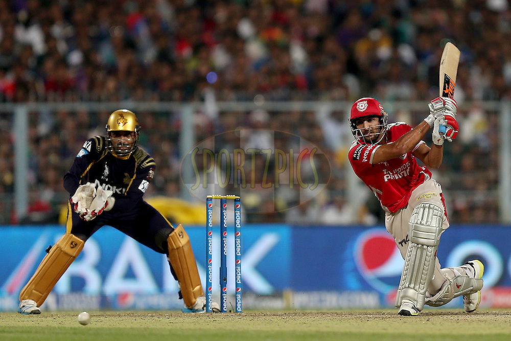 Manish Pandey during the first qualifier match (QF1) of the Pepsi Indian Premier League Season VII 2014 between the Kings XI Punjab and the Kolkata Knight Riders held at Eden Gardens Cricket Stadium, Kolkata, India on the 28th May 2014. Photo by Jacques Rossouw / IPL / SPORTZPICS<br /> <br /> <br /> <br /> Image use subject to terms and conditions which can be found here:  http://sportzpics.photoshelter.com/gallery/Pepsi-IPL-Image-terms-and-conditions/G00004VW1IVJ.gB0/C0000TScjhBM6ikg