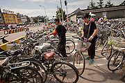 Bicycle parking at the Temple of Heaven Park during summer in Beijing, China