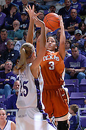 Texas guard Carla Cortijo (3) puts up a shot over Kansas State's Danielle Zanotti (25), during the first half at Bramlage Coliseum in Manhattan, Kansas, February 3, 2007.  Texas beat K-State 61-34.