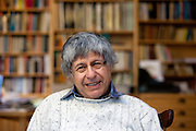 Czech writer Ivan Klima in his office and library at quater Hodkovicky in Prague 4.