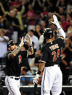Oct. 5 2011; Phoenix, AZ, USA; Arizona Diamondbacks infielder Ryan Roberts (14) is congratulated by teammate outfielder Chris Young (24) after hitting a grand slam during the first inning against the Milwaukee Brewers at game four of the 2011 NLDS at Chase Field. Mandatory Credit: Jennifer Stewart-US PRESSWIRE.