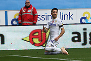 Leeds United midfielder Pablo Hernandez (19) scores a goal 1-1 and celebrates during the EFL Sky Bet Championship match between Wigan Athletic and Leeds United at the DW Stadium, Wigan, England on 4 November 2018.