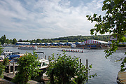 """Henley on Thames, United Kingdom, 4th July 2018, Wednesday, General View, """"Regatta Time"""",  first day of the annual,  """"Henley Royal Regatta"""", Henley Reach, River Thames, Thames Valley, England, © Peter SPURRIER,"""