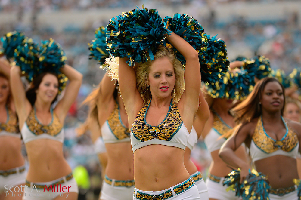 Jacksonville Jaguars cheerleaders during an NFL game against the New York Jets at EverBank Field on Dec 9, 2012 in Jacksonville, Florida. The Jets won 17-10...©2012 Scott A. Miller..