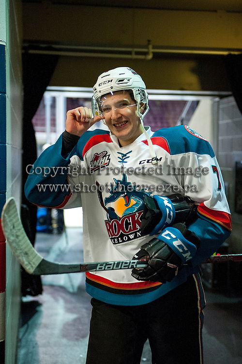 KELOWNA, CANADA - JANUARY 3: Libor Zabransky #7 of the Kelowna Rockets smiles at the camera as he heads to the dressing room after warm up against the Tri-City Americans on January 3, 2017 at Prospera Place in Kelowna, British Columbia, Canada.  (Photo by Marissa Baecker/Shoot the Breeze)  *** Local Caption ***