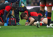 Twickenham, Surrey United Kingdom. Mike BROWN, attended to  very quickly by the medics' after being tackled by Tomas LEZANA, during the England vs Argentina. Autumn International, Old Mutual Wealth series. RFU. Twickenham Stadium, England. <br /> <br /> Saturday  11.11.17.    <br /> <br /> [Mandatory Credit Peter SPURRIER/Intersport Images]