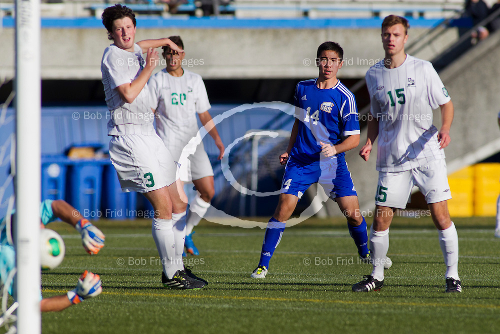 03 November 2013:  Action during the Canada West Men's Soccer Final between the University of British Columbia Thunderbirds and the University Saskatchewan Huskies at Thunderbird Stadium, University of British Columbia, Vancouver, BC, Canada.  Final Score:  UBC 6 - U of S 1   ****(Photo by Bob Frid/UBC Athletics 2013 All Rights Reserved)