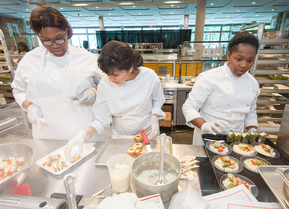 Students from Barbara Jordan High School participate in  the Cooking for Change challenge at Rice University, April 12, 2014.