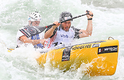 27.06.2015, Verbund Wasserarena, Wien, AUT, ICF, Kanu Wildwasser Weltmeisterschaft 2015, C2 men, im Bild v.l. Louis Lapointe, Tony Debray (FRA) // during the final run in the men's C2 class of the ICF Wildwater Canoeing Sprint World Championships at the Verbund Wasserarena in Wien, Austria on 2015/06/27. EXPA Pictures © 2014, PhotoCredit: EXPA/ Sebastian Pucher