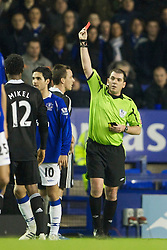 LIVERPOOL, ENGLAND - Monday, December 22, 2008: Chelsea's captain John Terry is sent off by referee Phil Dowd during the Premiership match against Everton at Goodison Park. (Photo by David Rawcliffe/Propaganda)
