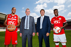 L-R Greg Streete of Bristol Flyers Basketball, RSG CEO Mike Beesley, Bristol Sport CEO Andrew Billingham and Bristol City footballer Kieran Agard - Photo mandatory by-line: Rogan Thomson/JMP - 07966 386802 - 09/07/2015 - SPORT - Bristol, England - Ashton Gate Stadium - Bristol Sport Preseason Sponsor Photos.