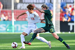 August 2, 2018 - Bridgeview, IL, U.S. - BRIDGEVIEW, IL - AUGUST 02: Japan forward Yuika Sugasawa (13) is grabbed by Australia defender Larissa Crummer (22) during the 2018 Tournament Of Nations at Toyota Park on August 2, 2018 in Bridgeview, Illinois (Photo by Quinn Harris/Icon Sportswire) (Credit Image: © Quinn Harris/Icon SMI via ZUMA Press)